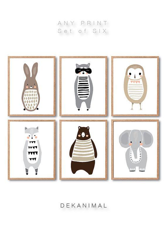 Woodland Animal Print Set of 6, Rabbit, Raccoon, Wolf, Elephant, Owl, Brown Bear,  Any 6 Prints, Animal Illustration, Baby nursery Art