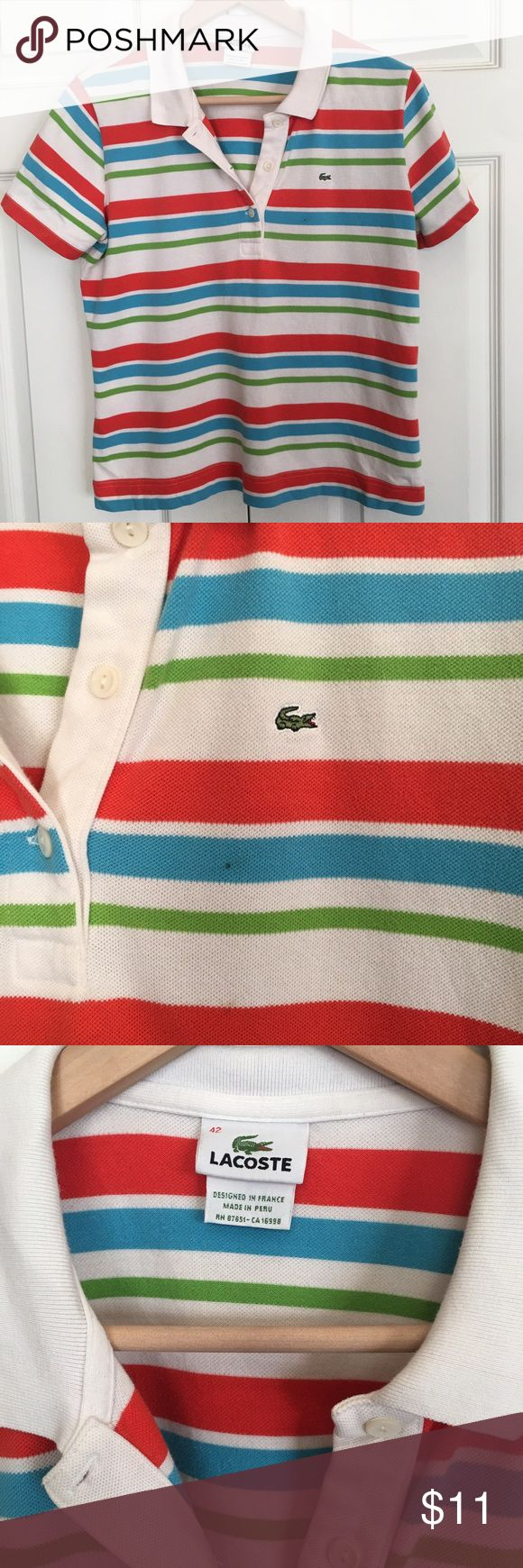 Lacoste Polo Shirt Size medium (42) Lacoste Polo Shirt Size medium (42). Small black dot seen in picture Lacoste Tops