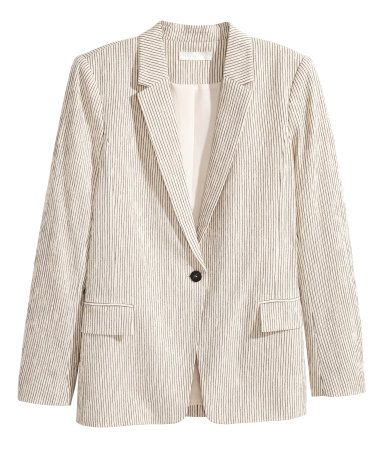 Natural white/striped. Straight-cut jacket in lightweight, crêped pinstripe fabric made from a cotton blend. Single button and front pockets with flap.