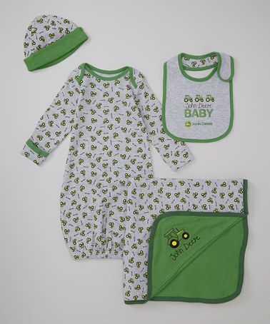 Heather Gray 'John Deere Baby' Gown Set - Infant by John Deere #zulily #zulilyfinds