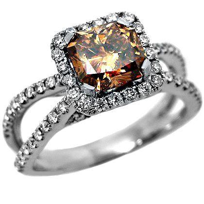 1.81ct Fancy Brown Cushion Cut Diamond Engagement Ring 18k White Gold | Engagement Rings