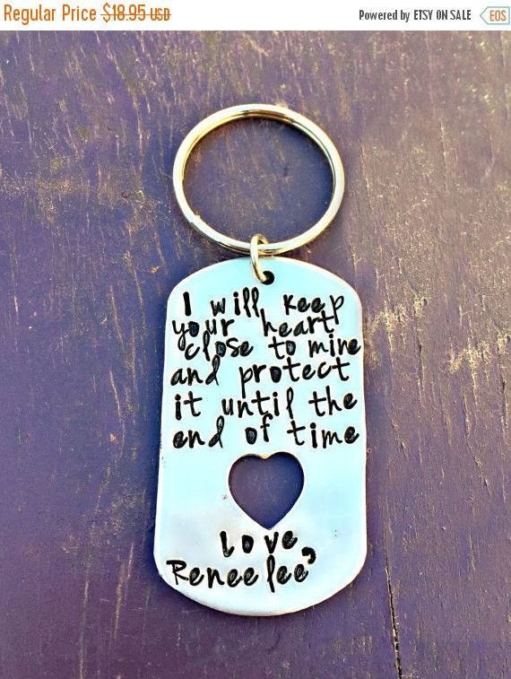 Long Distance, Love Notes, Husband Gifts, 10th Anniversary, Gifts For Men, 10 years Key Chain, Hand Stamped, Boyfriend Presents, Christmas