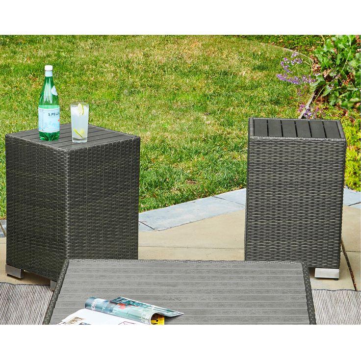 Handy Living Aldrich Indoor/Outdoor 2 Piece Rattan End Table Set, Patio Furniture