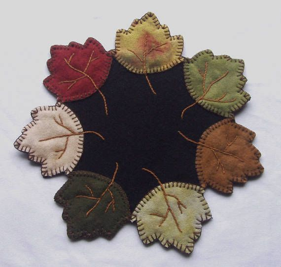 Penny Rug Wool Autumn Leaves Candle Mat Primitive