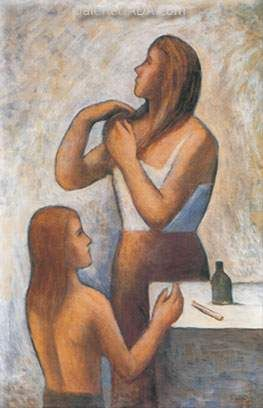 Carlo Carra,  Morning Toilette Fine Art Reproduction Oil Painting