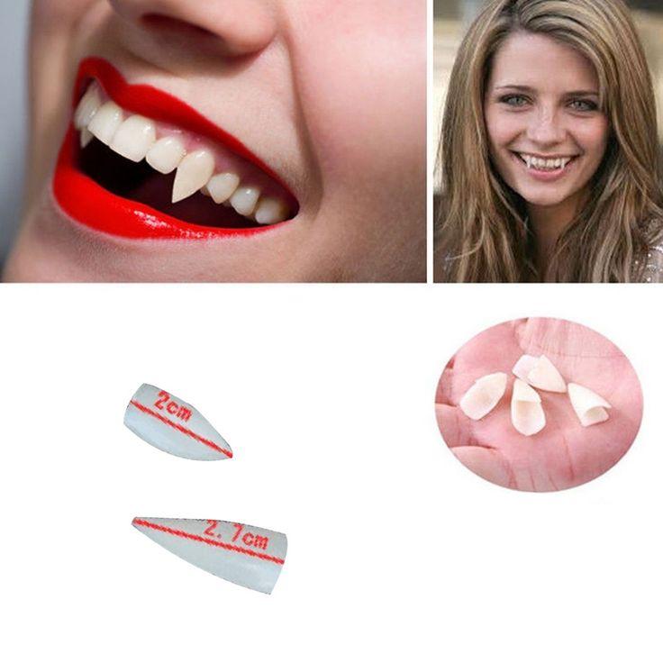 Promotion Horrific 4 PCS Dress Vampire Teeth Halloween Party Dentures Props Vampire Zombie Devil Fangs Teeth Free Shipping