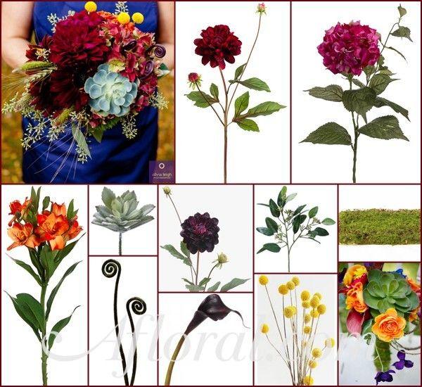 Emily's Purple Burgundy & Orange Rustic Fall Wedding Flowers Inspiration Board