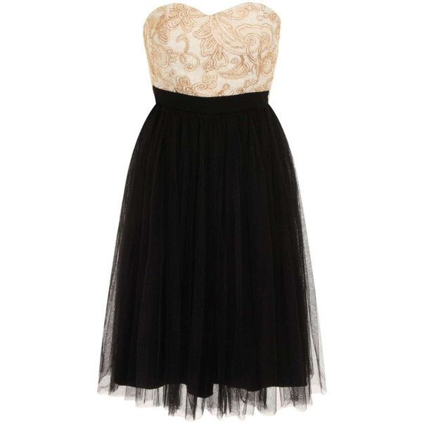 Dorothy Perkins **Laced in Love Cream and Black Prom Dress ($95) ❤ liked on Polyvore featuring dresses, cream, dorothy perkins, cocktail prom dress, cream cocktail dress, prom dresses and creme dresses