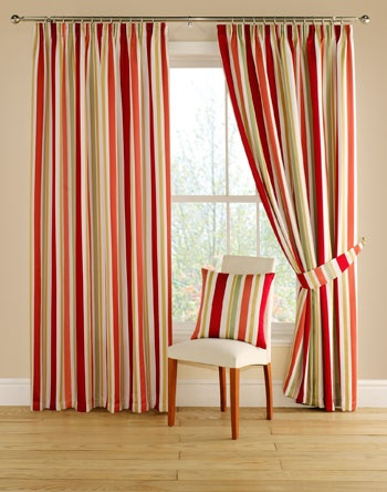 "Add a rich and dramatic feel to your room with this vertical striped pattern in terracotta, pale green, yellow-gold and red colourway set on a soft white background.    Festival is a luxurious and fully lined curtain with a 3"" tape heading that features a brilliant eye catching striped woven design."