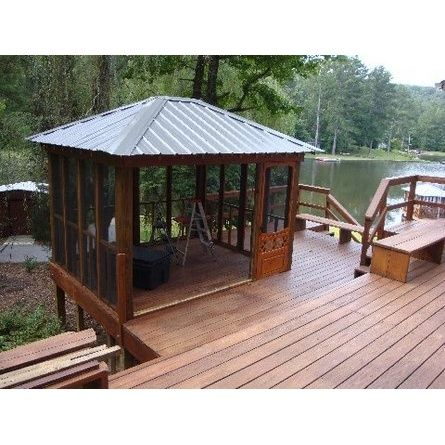 We Have To Admire This Screened In Lakeside Gazebo A TOH Reader Built House His New Hot Tub