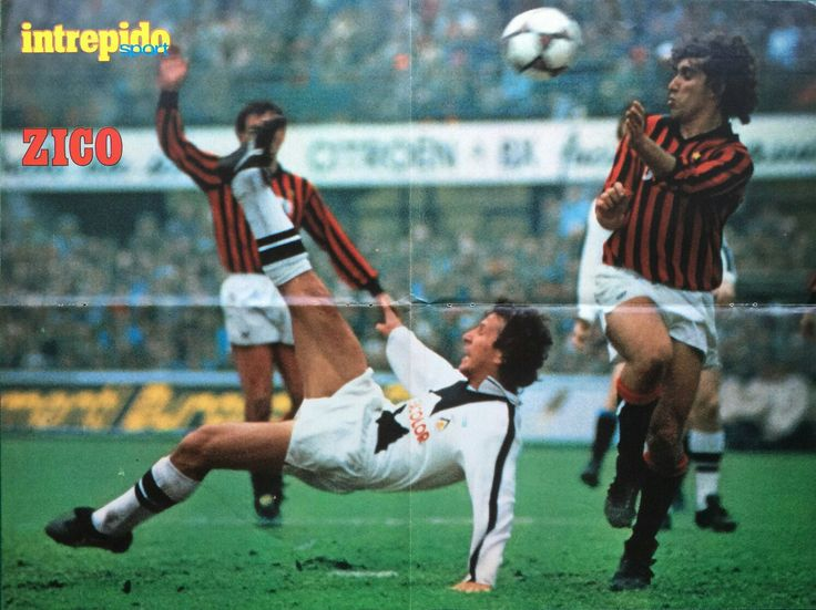 AC Milan 2 Udinese 2 in Aug 1984 at the San Siro. Zico with a acrobatic attempt at goal #SerieA