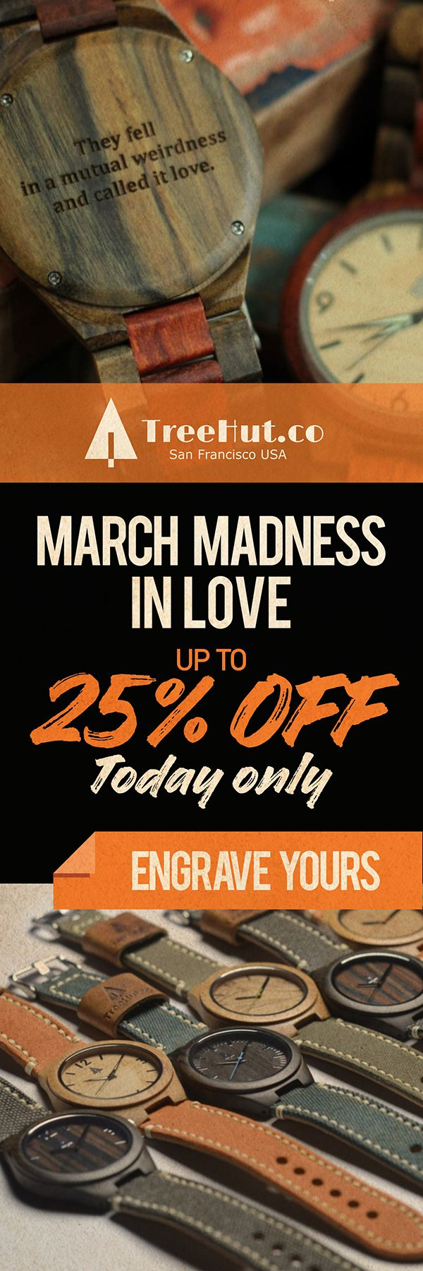 Get up to 25% off for March Madness in Love! Today only! Handcrafted in San Francisco. Nature-inspired designs that make the perfect gift for your special ones! See the full collection at Tree Hut.