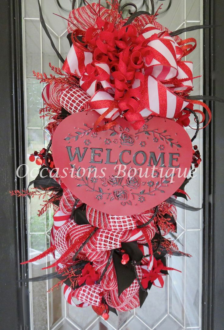 Valentines Day Door Swag, Valentine's Day Wreath, Front door wreath, Door Hanger, Wreath for Door, Red Wreath, Heart Wreath, Gift by OccasionsBoutique on Etsy