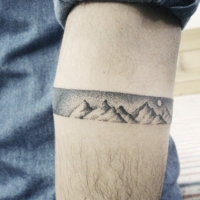 "This would be a cool idea for a wrist tattoo! A dotwork bracelet ""scene""."
