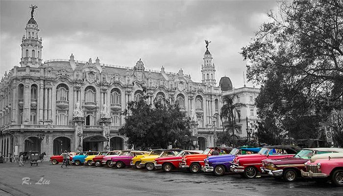 Grand city landscape, Havana, Cuba. Black and white with splash of colors. Got to love those colorful vintage cars! Photo taken and made by Audrey Liu.