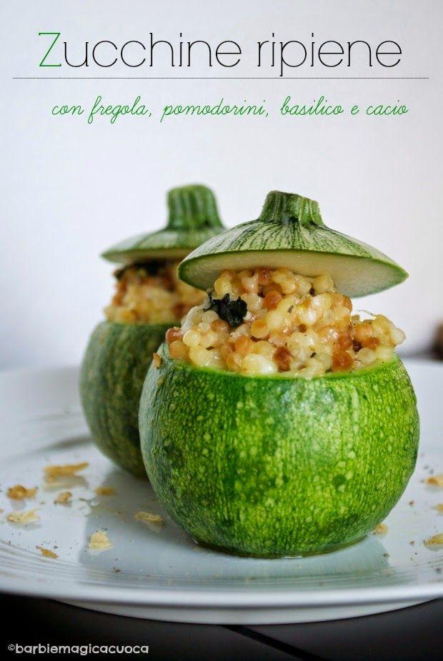 Zucchine ripiene con fregola, pomodorini, basilico e cacio. Barbie Magica Cuoca - blog di cucina