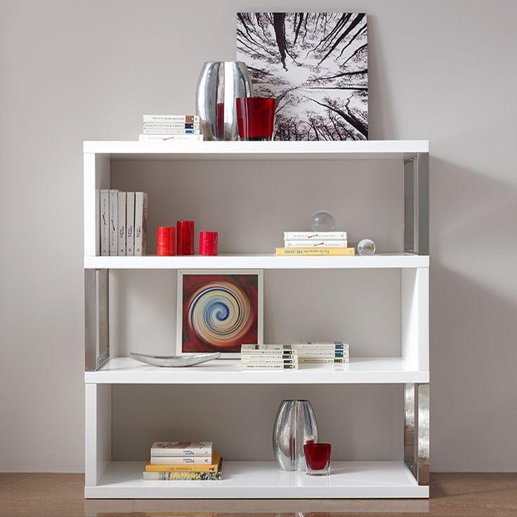 Bibliothèque blanc laqué design PLUTON