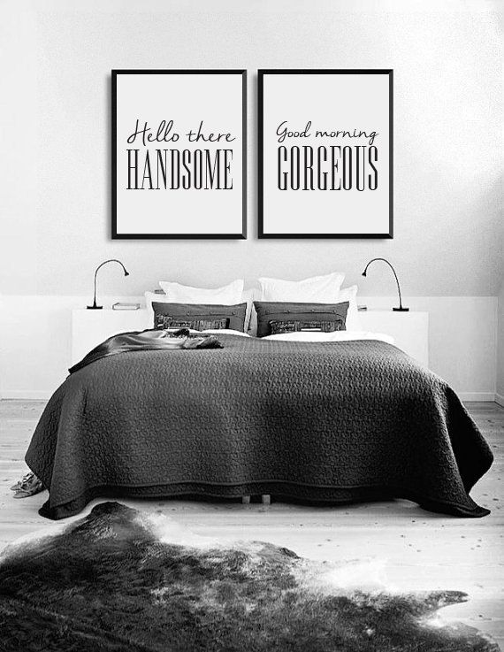 Hello There Handsome, Good Morning Gorgeous, Bedroom Art, Bedroom Print,  Wall Art, Wall Decor, Wall Prints, Set Of 2 Bedroom Prints