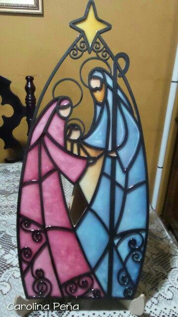 Sagrada Familia grande en resina (imitación vitral)
