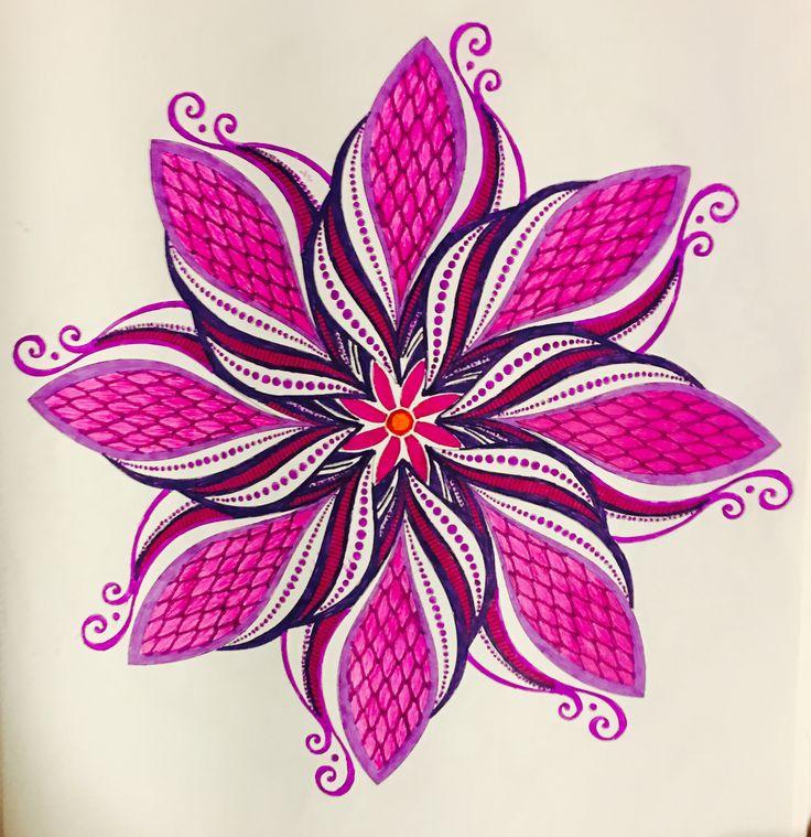 Mandala Flower Colored With Neon Gel Pensgel Pensby Judy Soto