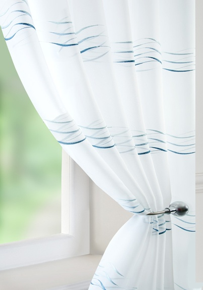 Waves Voile Curtain Panel Blue | Cheap Green Curtain Voile | UK Delivery