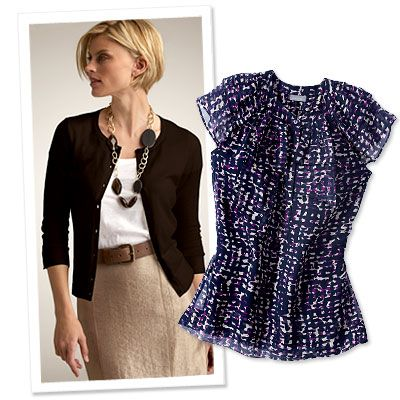 """Ann Taylor """"Choose classic shapes like a pencil skirt and a cardigan or blazer, and add interest to the look with a leather belt, statement necklace or printed blouse."""""""