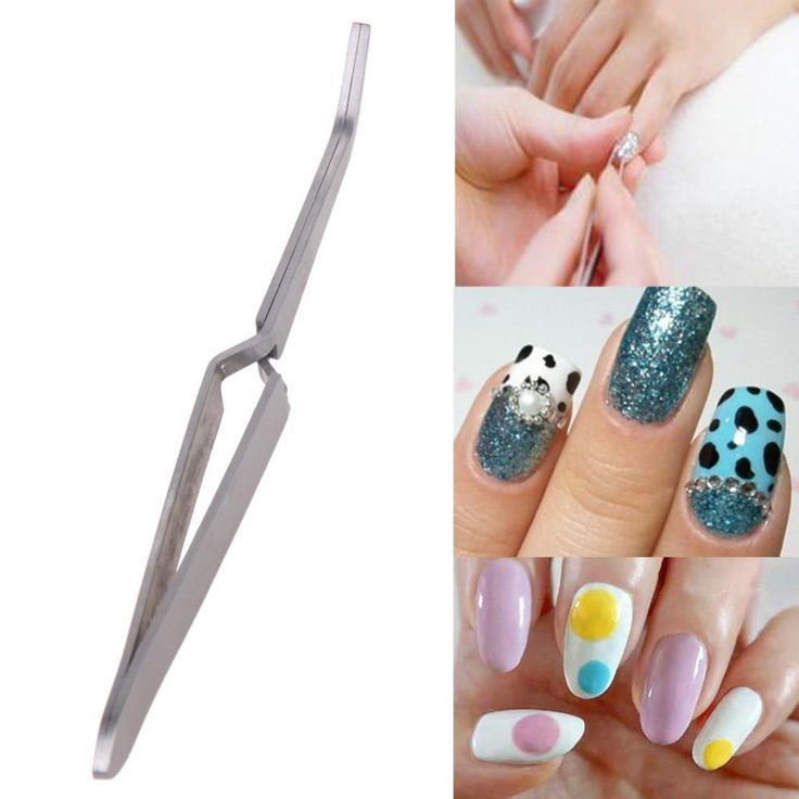 Stainless Steel Nail Art Rhinestones Tweezers Pearls Decoration Picking Tool Clip Nipper nail art decorations