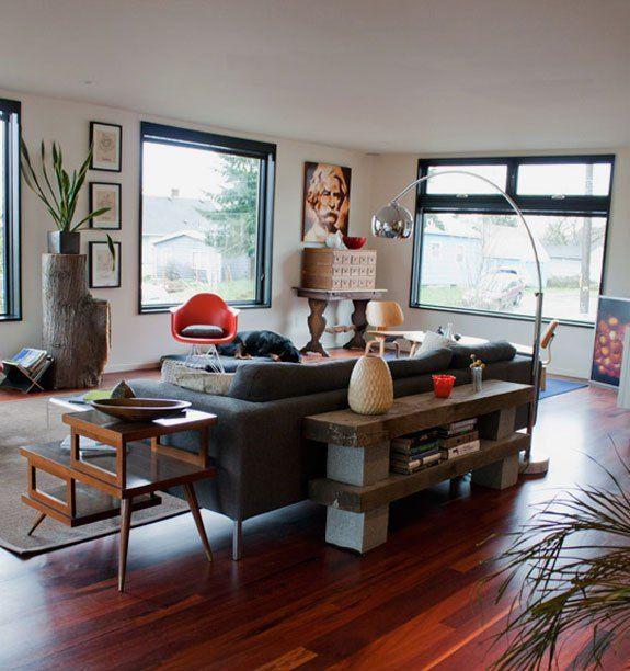 Decorative Cinder Block Shelf behind Couch