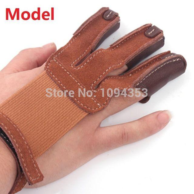 3 Finger Bogen pfeil jagdspitzen Bogenschießen Jagd Schießen Handschuh Leder Finger Spitze Protector Fingerschutz Pull Bogenschießen