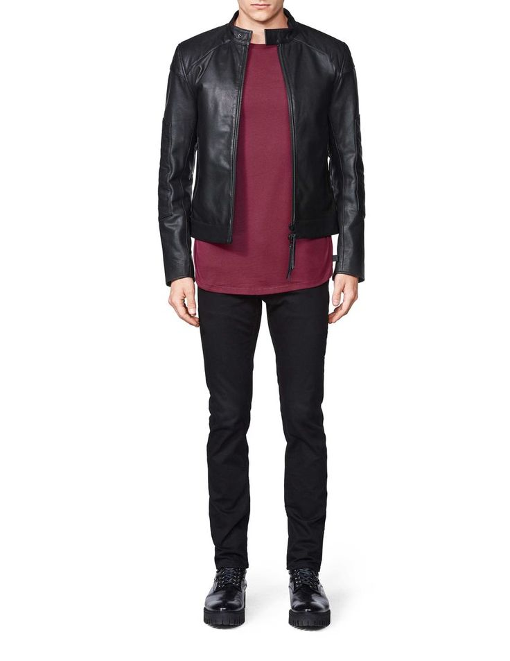 Lewd leather jacket-Men's jacket in leather with zigzag stitching details. Features zip fastening at front, pockets and back of sleeve. Slightly higher collar with collar strap and press button closure. Fully lined with inner pocket. Regular fit. Hip/below-hip length.