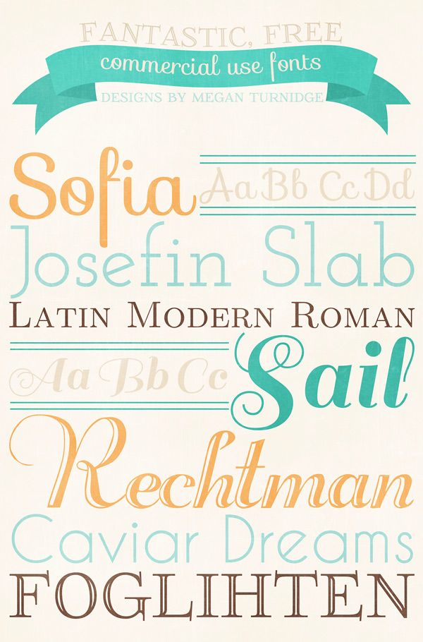 Beautiful, FREE commercial use fonts!