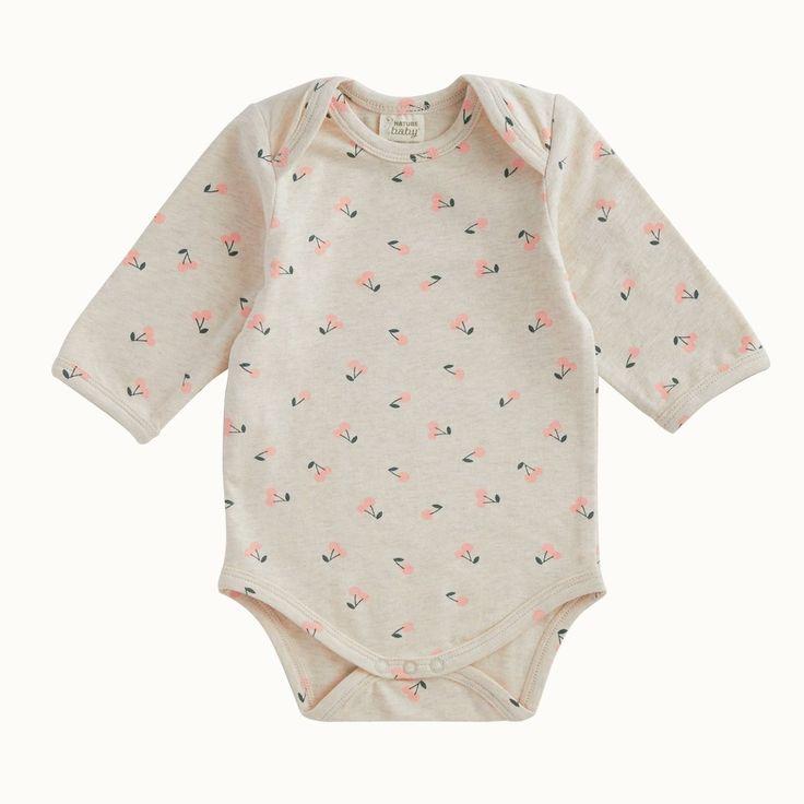 Organic Stretch Jersey Cotton Bodysuit | Cherry Print
