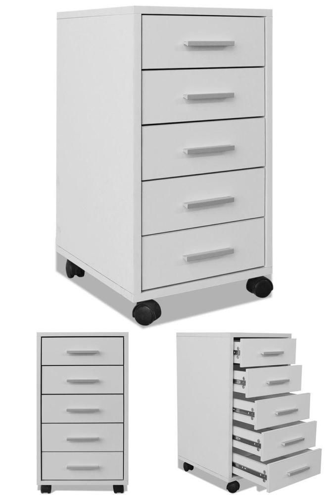 White Office Chest of 5 Drawers Wooden File Paper Stationary Storage Organiser