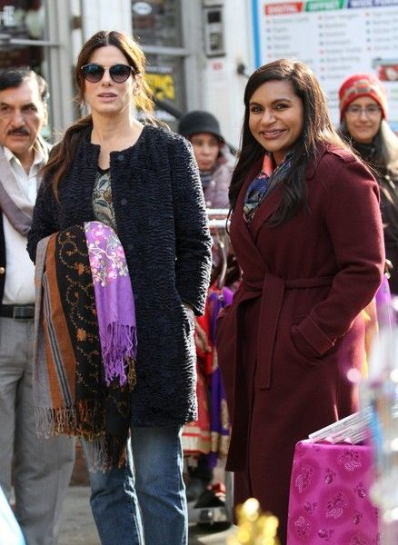 Actresses Sandra Bullock and Mindy Kaling perform on the set of 'Oceans 8' in Jackson Heights, Queens, New York.