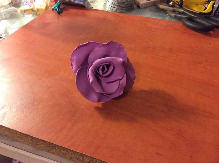 Polymer clay rose.