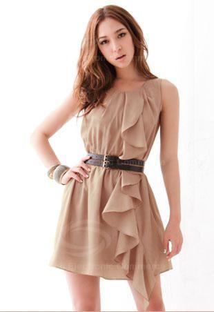 Elegant Round Neck Flouncing Embellished Solid Color Polyester Dress For Women (Without Belt) (BLACK) China Wholesale - Sammydress.com