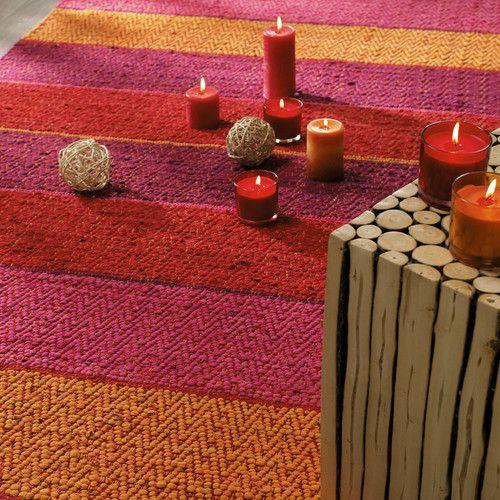 Tappeto intrecciato rosso-arancione a righe in cotone 140 x 200 cm HACIENDA