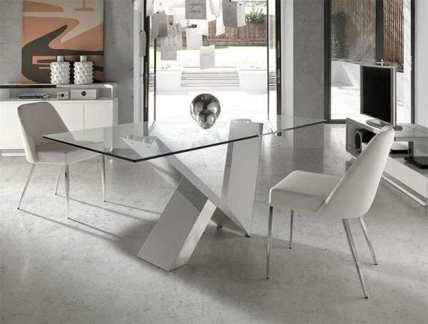 Angel cerda contemporary glass and chrome dining table for Comedor wood trendy