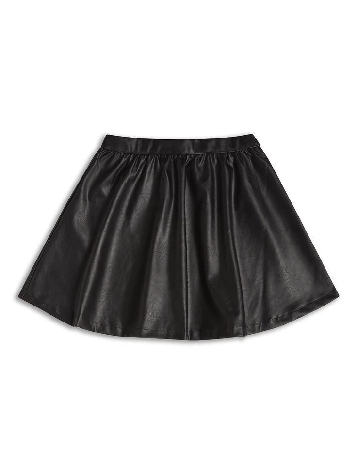 Girls black skirt leather effect  8-14Years