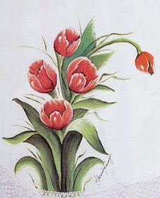 Pintura em Tecido Passo a Passo: RISCOS DE TULIPAS