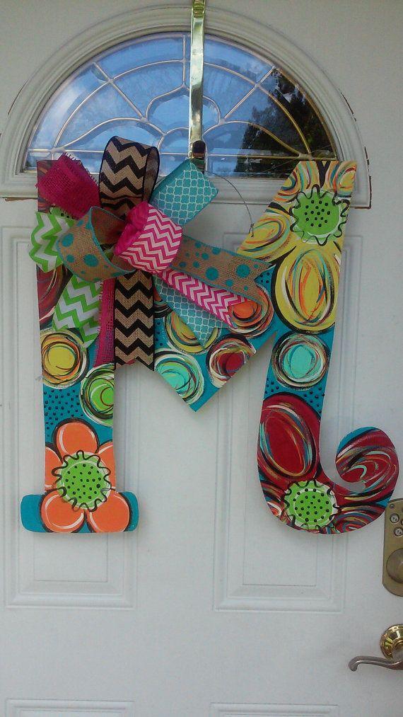 Wood Letter Door Hanger monogram door deccor by ReLovedTreasure