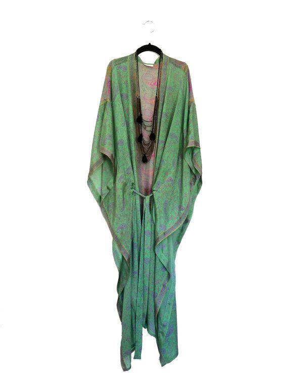 Maxi length kimono jacket / beach cover up / kaftan in by Bibiluxe