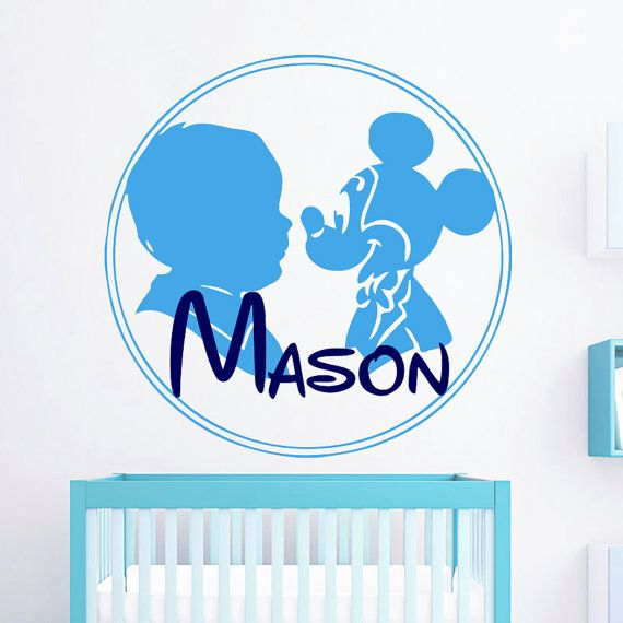 Wall Decals Personalized Name Decal Vinyl Sticker Mickey Mouse Boy Baby Children Nursery Bedroom Room Decor Home Playroom Art Murals MN664