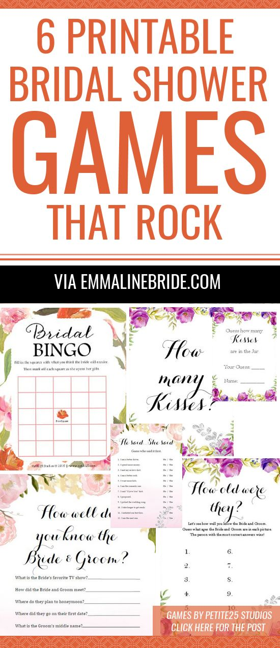 Printable bridal shower games for fun in an instant! Cute designs, too. See how the games are played & more at http://emmalinebride.com/bridal-shower/games-printable/