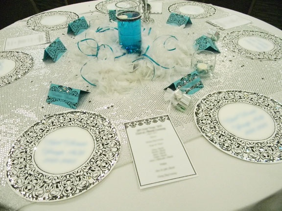 banquet table decorations teal silver black white