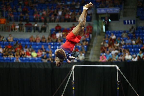 Donnell Whittenburg competes in the floor exercise during day one of the 2016 Men's Gymnastics Olympic Trials at Chafitz Arena on June 23, 2016 in St. Louis, Missouri.