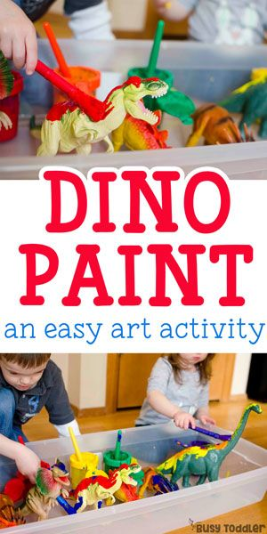 Painting Dinosaurs Process Art - an awesome quick and easy activity for toddlers!
