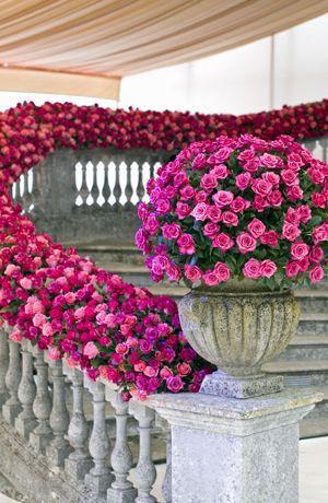Beautiful pink flower arrangment / http://www.deerpearlflowers.com/20-best-staircases-wedding-decor-ideas/