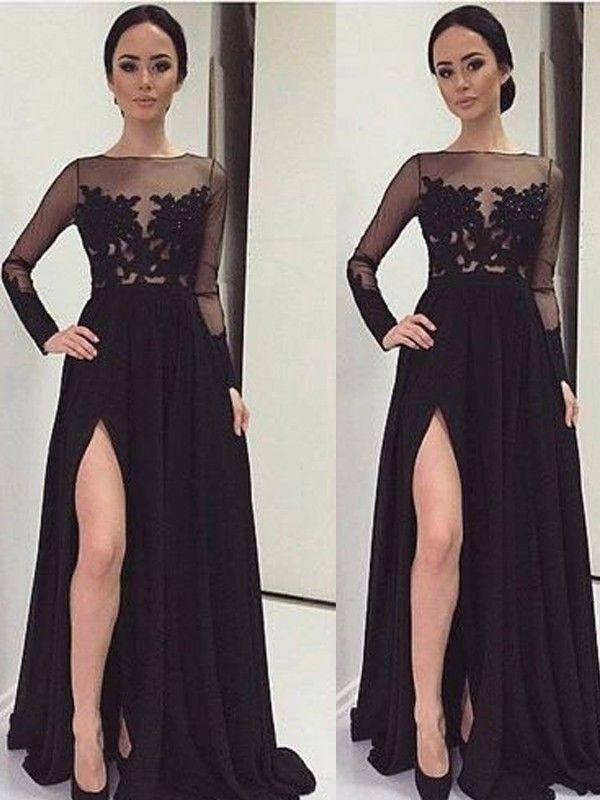 A-Line/Princess Bateau Long Sleeves Lace Floor-Length Chiffon Dresses JollyProm
