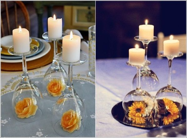DIY Wine Glass Centerpiece @Shannon Baker This would be a really cute centerpiece and probable really easy